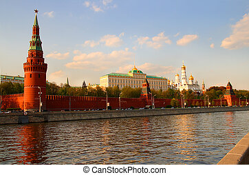 view from Moscow-river on kremlin in Russia