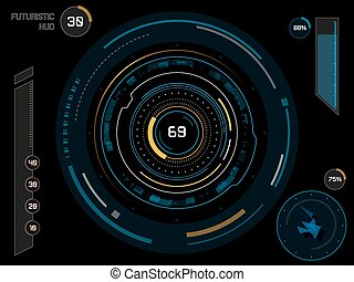 Futuristic user interface HUD - Futuristic sci-fi virtual...