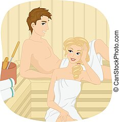 Couple Sauna - Illustration of a Couple Relaxing at a Sauna...