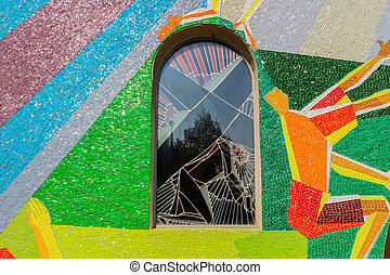 Mosaic window with Station of the Cross in Medugorje -...