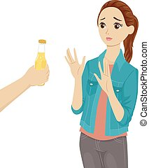 Teen Girl Refusing Beer - Illustration of a Teenage Girl...