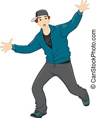 Hip Hop Dancing Teen - Illustration of a Teenage Boy Dancing...