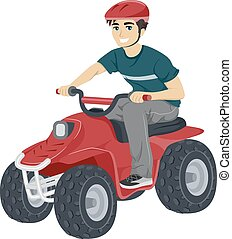 Teen Guy Quad Biking - Illustration of a Teenage Boy Driving...