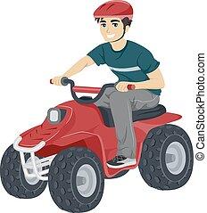 Adolescente, tipo, cuadratura, biking,
