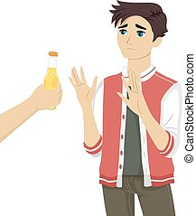 Teen Guy Refusing Beer - Illustration of a Teenage Boy...