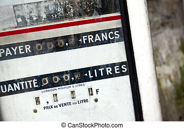 Gas pump - Close up on an old gas pump in France