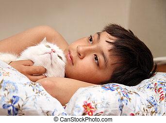 niño, blanco, gato