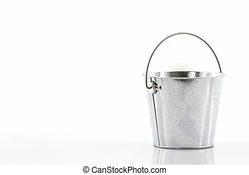 Metal zinc bucket. - Metal zinc bucket on white background.
