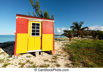 beach hut on the caribbean beach