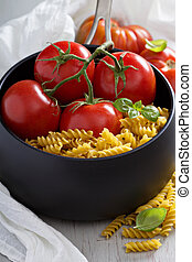 Ingredients for tomato soup with pasta
