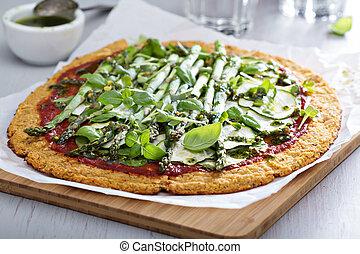 couve flor, pizza, com, abobrinha, e, espargos,