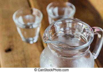 vidrio, cántaro, de, agua, y, vidrio.,