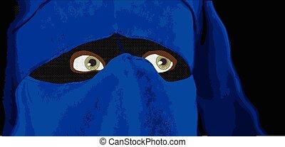 Islam Lady - An Islamic lady with blue headwear....