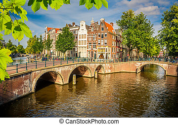 Amsterdam cityscape - Bridges over canals in Amsterdam