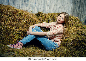 youth fashion - Pretty girl teenager in shirt and torn jeans...