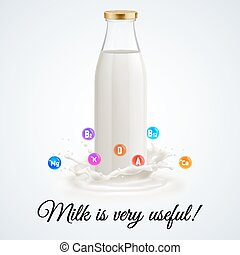 Milk bottle - Isolated closed glass bottle of milk. Usefull...
