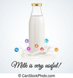 Milk bottle - Isolated closed glass bottle of milk. Usefull...