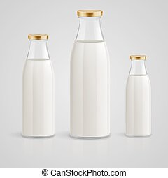Milk bottle - Closed glass bottles of milk on a blue...
