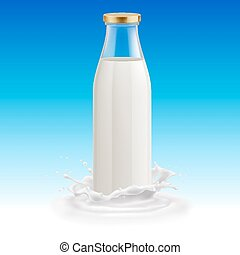 Milk bottle - Isolated closed glass bottle of milk on a blue...