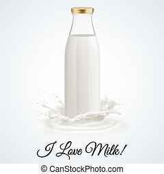Milk bottle - Banner I love milk Closed glass bottle of milk...