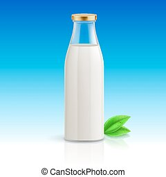 Milk bottle - Closed glass bottle of milk on blue background...