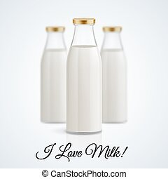 Milk bottle - Banner I love milk. Set of closed glass...