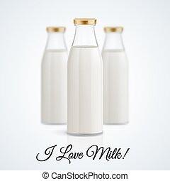 Milk bottle - Banner I love milk. Set of closed glass...
