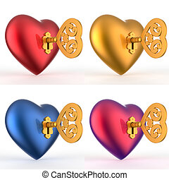 Heart with Key 3D Set