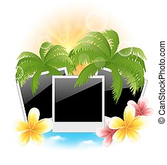 Set photo frame with palms, flowers frangipani, seascape...