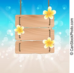 Hanging wooden signboard with tropical flowers frangipani -...