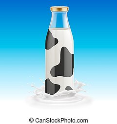 Milk bottle - Closed glass spotted bottle of milk on a blue...