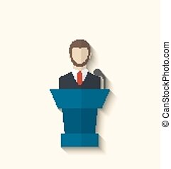 Flat icon of orator speaking from rostrum, long shadow style...