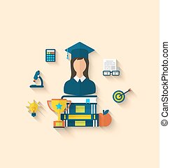 Flat icons of magister female with graduation and objects...