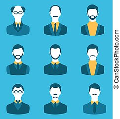 Set business people, front portrait of males isolated on blue background