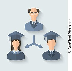 Flat icons of teacher and his students have graduated from...