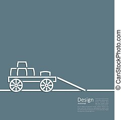 Freight wagon cartage loaded with wine casks, minimal design...