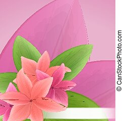 Illustration pink and red frangipani (plumeria), exotic flowers green leaves plant