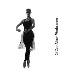 Black and white trace of young beautiful ballet dancer...