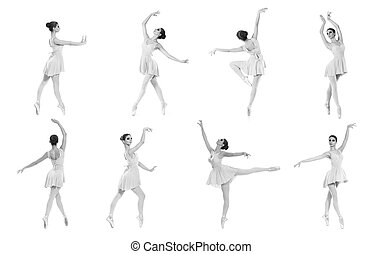 Collection of different ballet poses. Black and white...