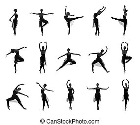 Collection of different ballet poses Black and white...