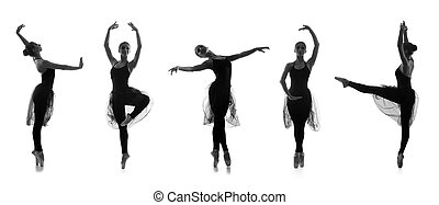 Set of different ballet poses. Black and white traces...