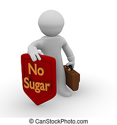 No Sugar - 3d man with a red protective shield with golden...