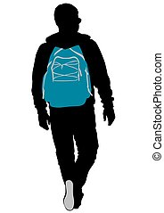 Man and backpack - Silhouette of man with backpack on white...