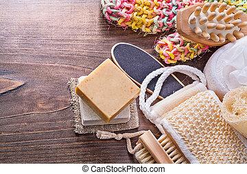 big set of bath room accessories bar soap wisp massager loofah n