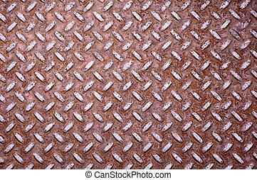 Rusty diamond shape steel plate - Old rusty steel floor...