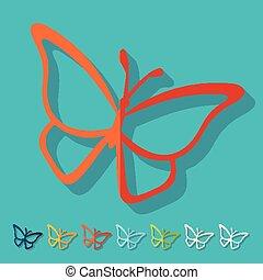Flat design. butterfly