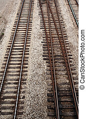 Railroad tracks - Track of rails with old timber sleepers.