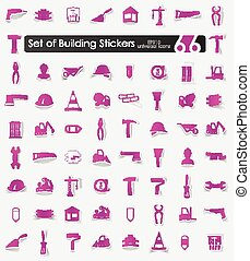 Set of building stickers