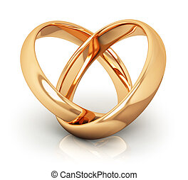 Golden wedding rings - Creative abstract love, engagement,...