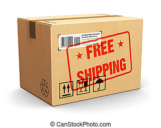 Cardboard box with Free Shipping stamp - Creative abstract...